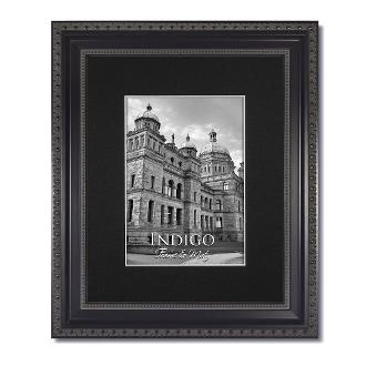 Heritage Black Ornate Frame With Black Mat Indigo Frame