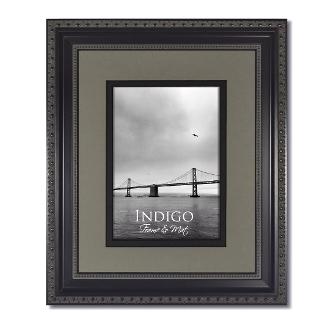 Heritage Black Ornate Frame With Gray Over Black Mat Indigo Frame