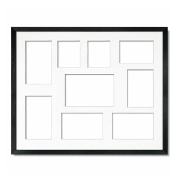 Collage Frame - Gallery Black with Single White Mat - Indigo Frame & Mat