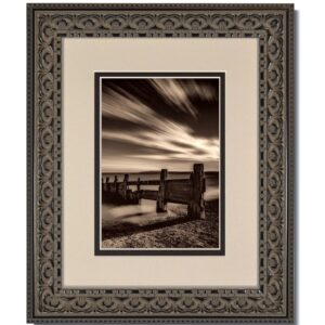 Vintage Black Ornate Frame with Oyster over Black Mat