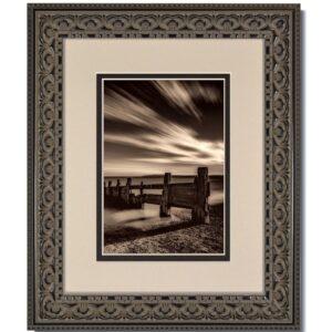 Vintage Black Ornate Frame with Oyster over Black Mat
