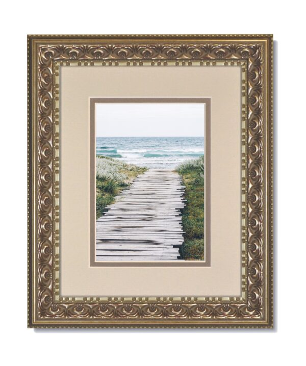 Vintage Silver Ornate Frame with Oyster over Gray Mat